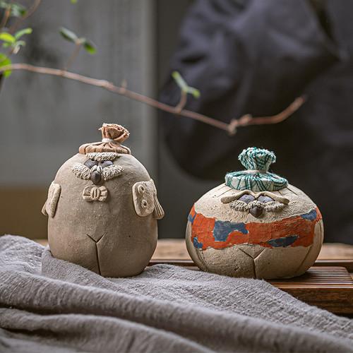 Cute Owl Ceramic Food Container Tea Caddy