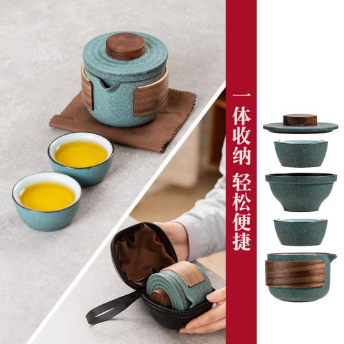 Travel Ceramic Chinese Gongfu Tea Set With Carrying Case