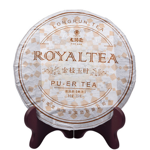 LONGRUN TEA Brand Golden Branches Jade Leaves Pu-erh Tea Cake 2014 357g Ripe