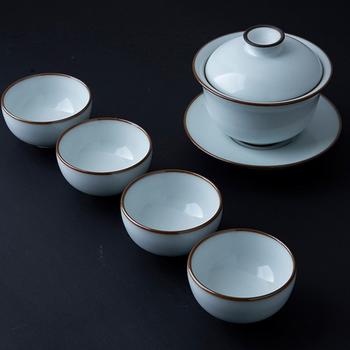Yue Bai Porcelain Kungfu Tea Gaiwan And Teacup Set