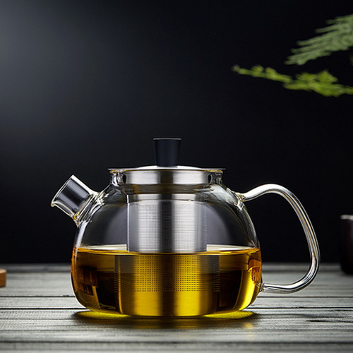 Yu Run Glass Lead Free Borosilicate Heat Resistant Teapot Stainless Steel Infuser