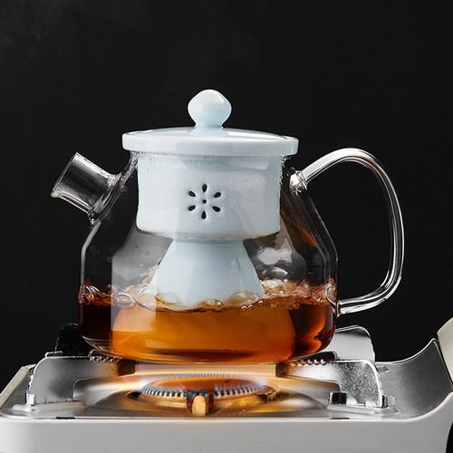 Ding Yue Glass Lead Free Borosilicate Heat Resistant Teapot Ceramic Infuser 1100ml