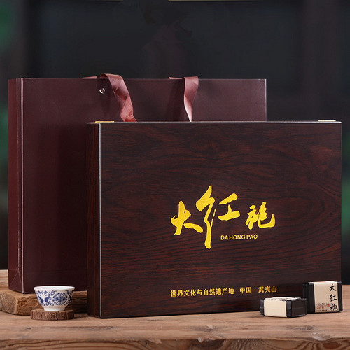YANZHIYE Brand Ebony Gift Box Da Hong Pao Fujian Wuyi Big Red Robe Oolng Tea 240g