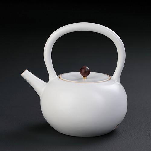 Jing Shui Hu White Ceramic Kettle for Gongfu Tea Ceremony 1000ml