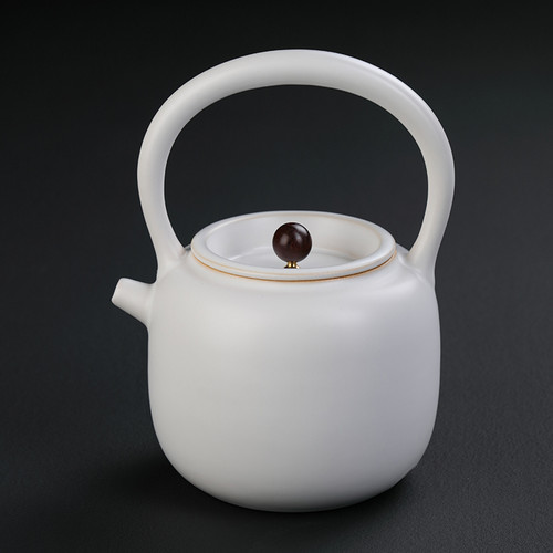 Shang Shui Hu White Ceramic Kettle for Gongfu Tea Ceremony 1000ml