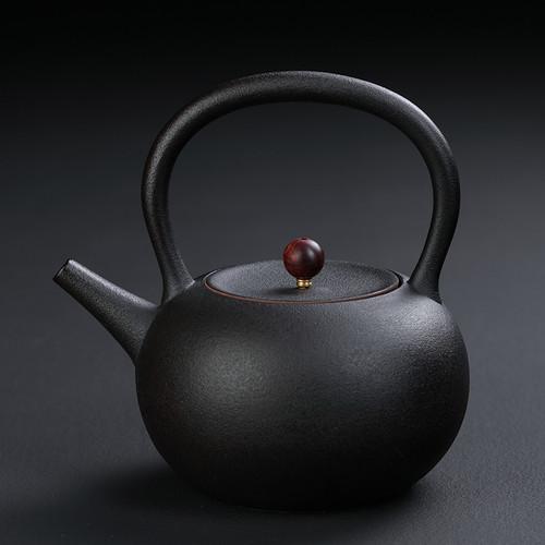 Jing Shui Hu Black Ceramic Kettle for Gongfu Tea Ceremony 1000ml