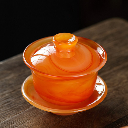 Agate Jade Porcelain Glass Gongfu Tea Gaiwan Brewing Vessel 150ml
