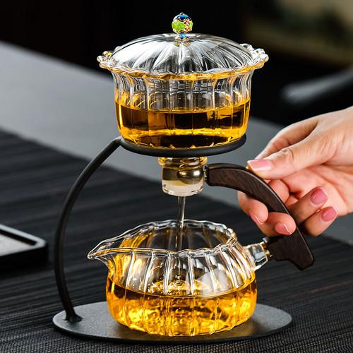 Petal Gourd Glass Teapot Pitcher & Dispenser Gongfu Tea Set