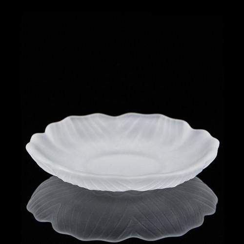 Lotus Mist White Liu Li Glass Cup Coaster For Gongfu Tea Ceremony