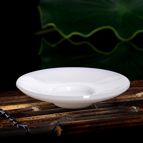Round White Jade Porcelain Glass Cup Coaster For Gongfu Tea Ceremony