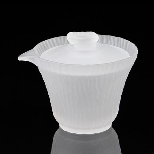 Mist White Liu Li Glass Gongfu Tea Gaiwan Brewing Vessel 160ml