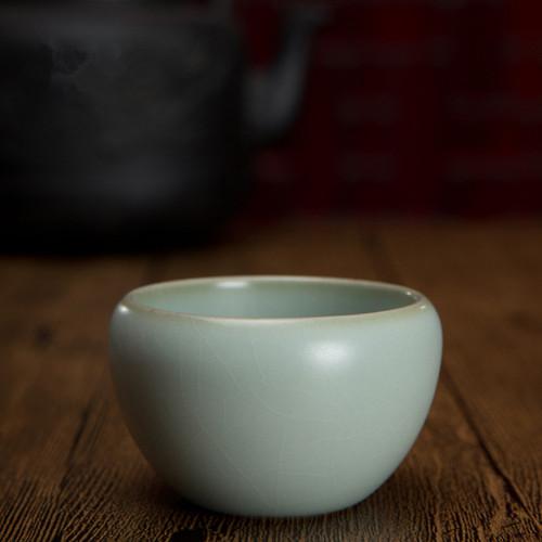 Small Zen Heart Cup Kiln Ice Cracked Glaze Ceramic Gongfu Tea Tasting Teacup 50ml