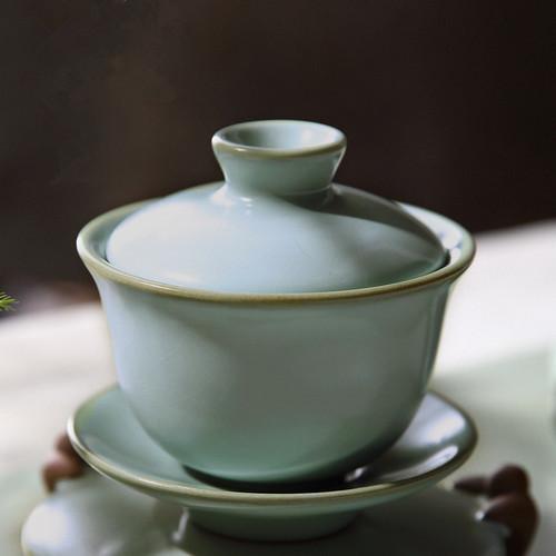Zi Zai Ice Cracked Glaze Ceramic Gongfu Tea Gaiwan Brewing Vessel 100ml