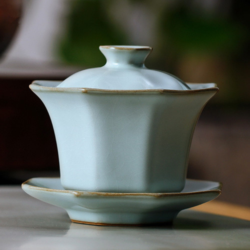 Dan Bo Ice Cracked Glaze Ceramic Gongfu Tea Gaiwan Brewing Vessel 130ml