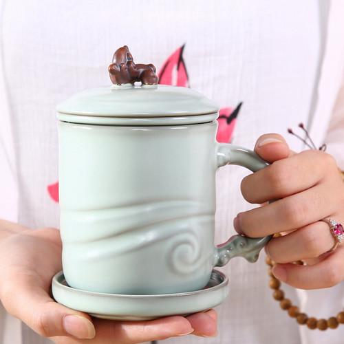 Da Lang Tao Sha Ceramic Tea Mug with Lid 400ml