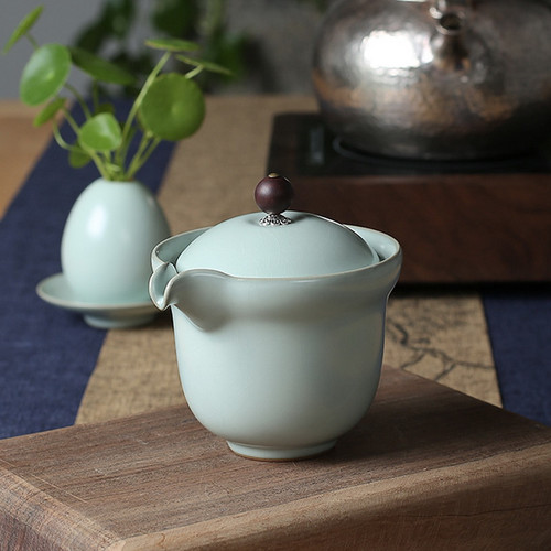 Yulan Bodhi Ice Cracked Glaze Ceramic Gongfu Tea Gaiwan Brewing Vessel 175ml