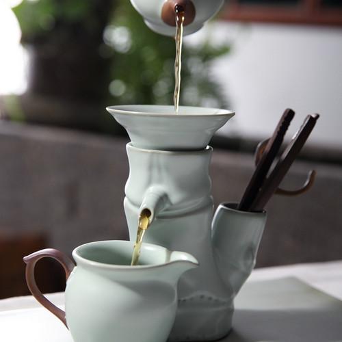 Bamboo Joint Ru Kiln Ceramic Gongfu Tea Strainer
