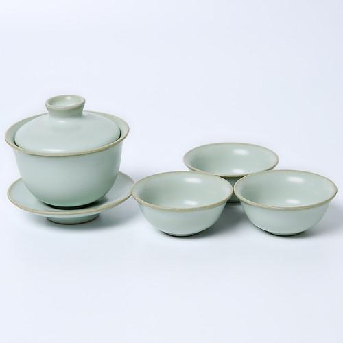 Zi Zai Ru Kiln Ceramic Kungfu Tea Teapot And Teacup Set