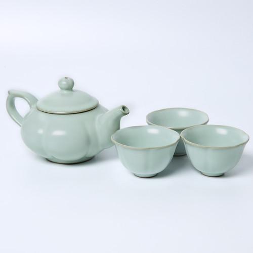 Pumpkin Ru Kiln Ceramic Kungfu Tea Teapot And Teacup Set