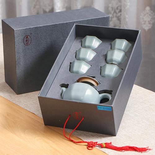 Octagonal Phoenix Teapot Ru Kiln Ceramic Kungfu Tea Teapot And Teacup Set