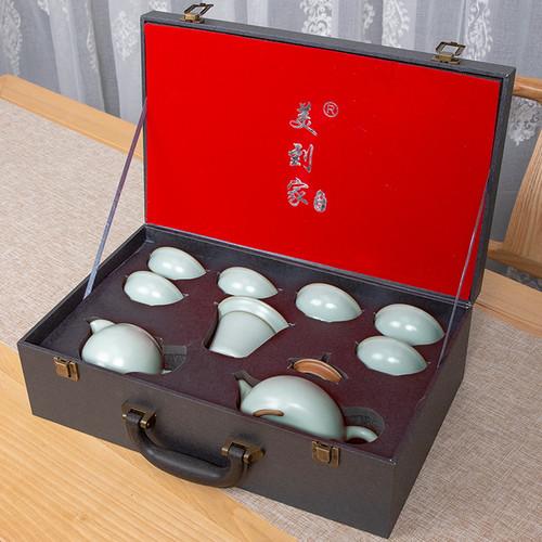 Chinese Style Ru Kiln Ceramic Kungfu Tea Teapot And Teacup Set