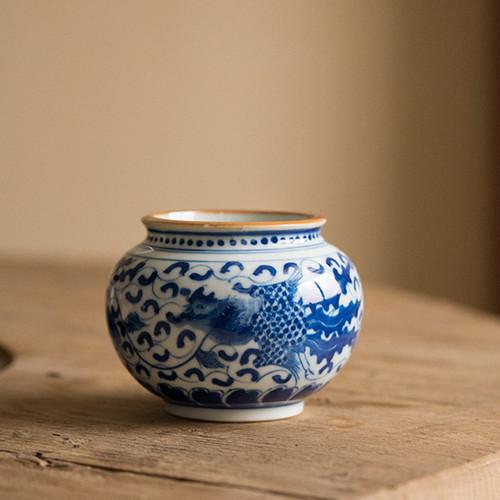 Qing Hua Ni Gu Ceramic Cha Xi Gongfu Tea Ceremony Water Bowl for Teacups