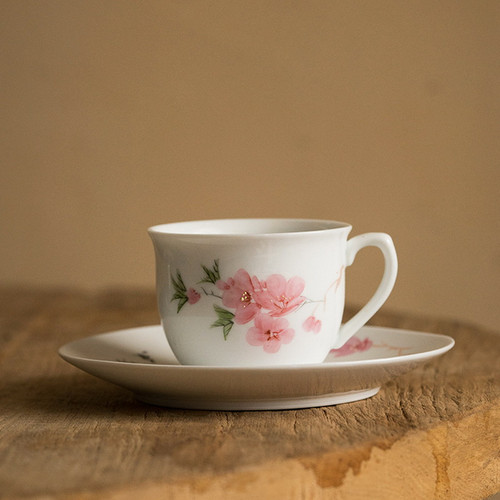 Peach Blossom Ceramic Tea Mug with Lid 140ml