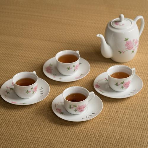 Peach Blossom Ceramic Kungfu Tea Teapot And Teacup Set