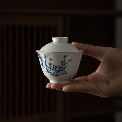 Blue Plum Porcelain Gongfu Tea Gaiwan Brewing Vessel 150ml