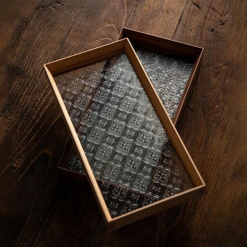 Retro Rectangular Water Storage Glass Solid Wood Tea Tray