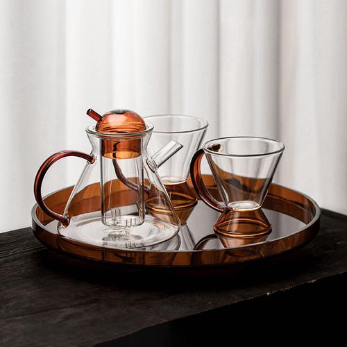 Amber Glass Kungfu Tea Teapot And Teacup Set