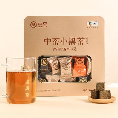 CHINATEA Brand Bin Fen Zhuang Five-year Chen Hunan Anhua Golden Flowers Fucha Dark Tea 240g Brick