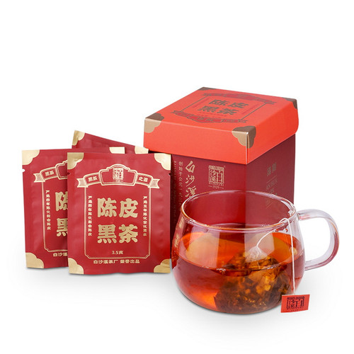 BAISHAXI Brand Chenpi Anhua Golden Flowers Fucha Dark Tea Tea Bag 42g