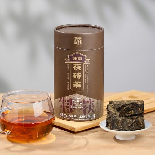 BAISHAXI Brand Qing Ke Fu Brick Tea Anhua Golden Flowers Fucha Dark Tea 150g Brick