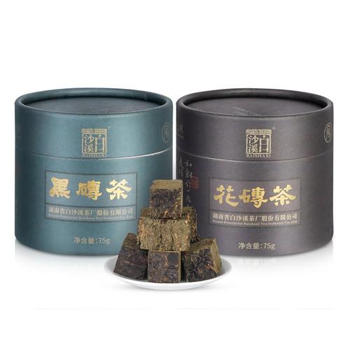 BAISHAXI Brand Black Brick Flower Brick Hunan Anhua Dark Tea 75g*2 Brick
