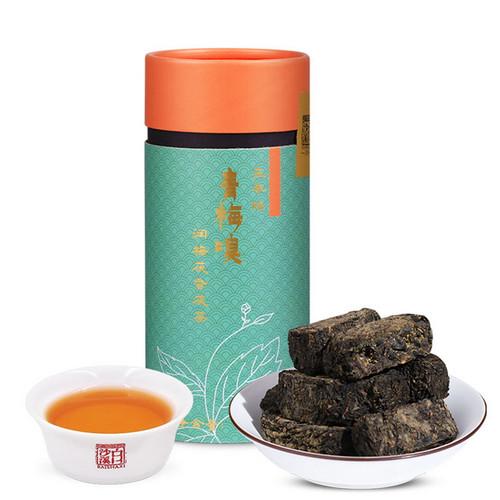 BAISHAXI Brand Qing Mei Xiu Anhua Golden Flowers Fucha Dark Tea 120g Brick