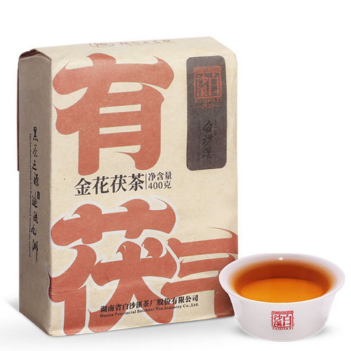 BAISHAXI Brand You Fu Qi Anhua Golden Flowers Fucha Dark Tea 400g Brick