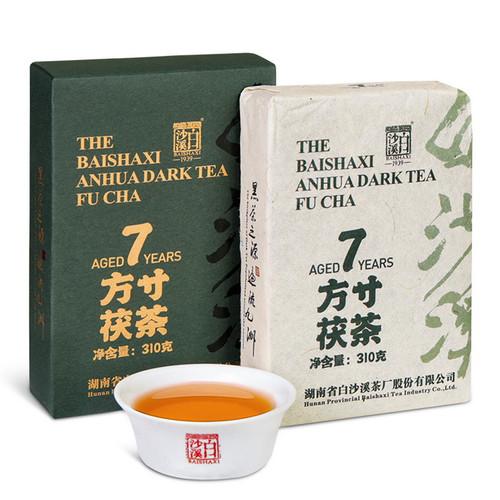 BAISHAXI Brand Square Inch Fu Brick Anhua Golden Flowers Fucha Dark Tea 310g Brick