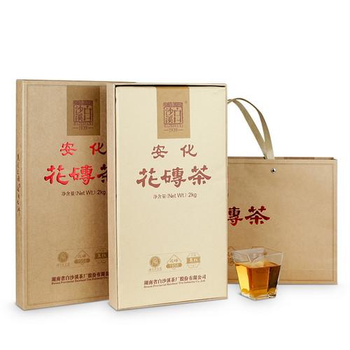 BAISHAXI Brand Classic Flower Brick Tea Hunan Anhua Dark Tea 2500g Brick