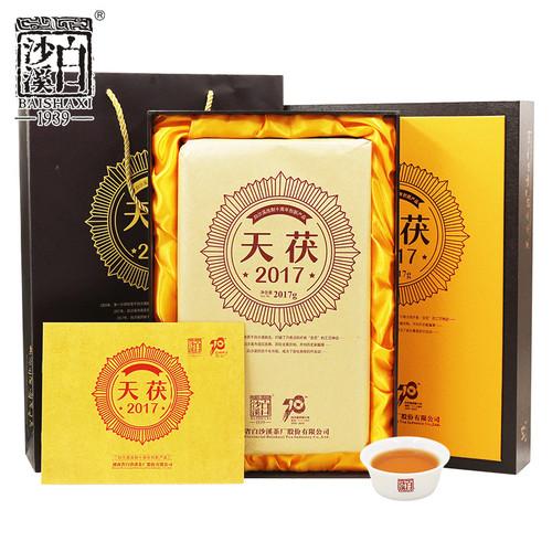 BAISHAXI Brand Tian Fu Anhua Golden Flowers Fucha Dark Tea 1000g Brick