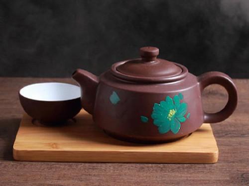 Yixing Zisha Clay Tea Set Teapot Teacup and Bamboo Tray 400ml