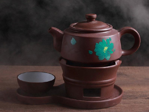 Brown Painted Yixing Zisha Clay Tea Set Teapot Teacup Warmer and Tray 400ml