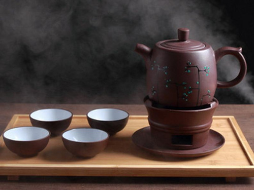 Brown Painted Yixing Zisha Clay Tea Set Teapot Four Teacups Warmer and Tray 500ml