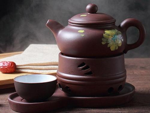 Brown Painted Yixing Zisha Clay Tea Set Teapot Teacup Warmer and Tray