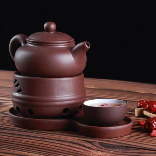 Brown Yixing Zisha Clay Tea Set Teapot Teacup Warmer and Tray