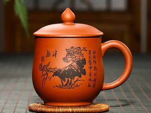 Handmade Yixing Zisha Clay Tea Mug Qunqu 350ml
