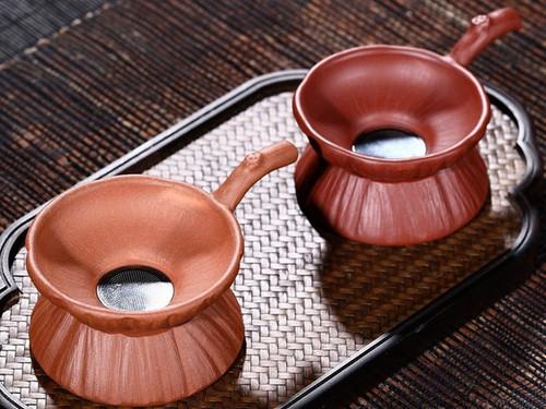 Handmade Yixing Zisha Clay Strainer and Stand Qingshuini