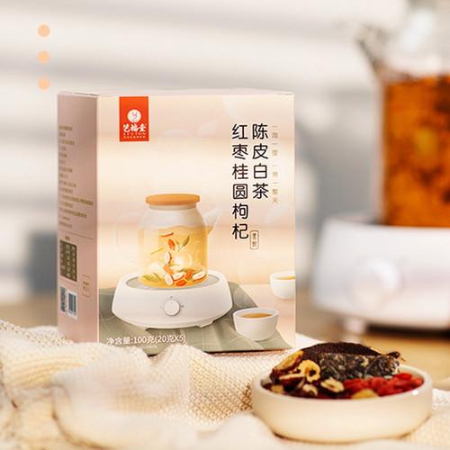EFUTON Brand Red Dates Guiyuan, Wolfberry Orange Peel White Tea Eight Treasures Ba Bao Cha Asssorted Herbs & Fruits Chinese Bowl Tea 100g