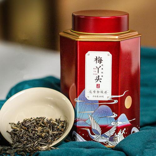 Wu Hu Brand Mei Ya Tou Jin Jun Mei Golden Eyebrow Wuyi Black Tea 100g