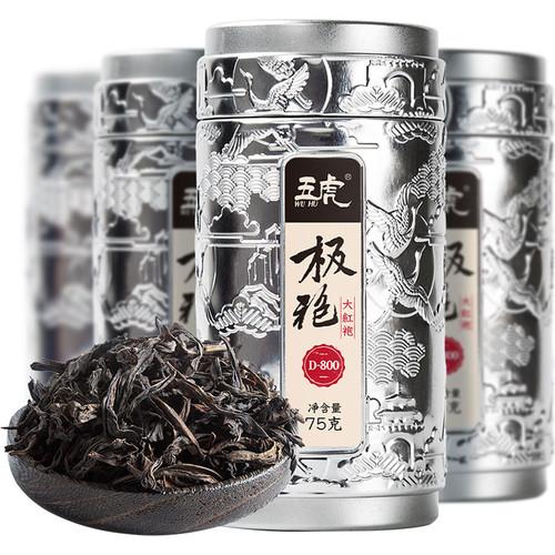 Wu Hu Brand Ji Pao D800 Da Hong Pao Fujian Wuyi Big Red Robe Oolng Tea 75g*4